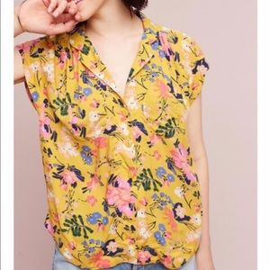 Anthropologie Maeve Yellow Floral Button Down top